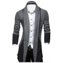New Stylish Fashion Color Block Shawl Collar Open Front Mens Longline Cardigan