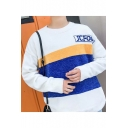 Chic Crew Neck Color Block Letter JCFONE Striped Print Long Sleeve Pullover Sweater for Men