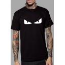 Novelty Monster Devil's Eye Pattern Round Neck Short Sleeves Unisex Pullover T-Shirts