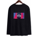Popular American Rapper Figure Printed Round Neck Long Sleeve Unisex Loose Relaxed T-Shirt