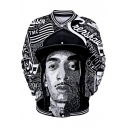Cool American Rapper 3D Portrait Sketch Print Stand-Collar Button Down Unisex Black Baseball Jacket