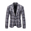 Men's Classic Plaid Pattern Notched Lapel Long Sleeve Single Button Front Fitted Blazer Suit