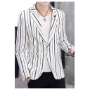 Mens Vertical Stripe Printed Notched Lapel Single Button Long Sleeves Blazers and Sport Coats