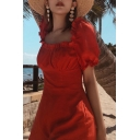 Womens Summer Fashion Simple Plain Puff Sleeve Vintage Square Neck Ruffled Hem Beach Rompers