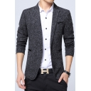 Leisure Mens Notched Lapel Long Sleeves Single Button Fitted Blazer Jacket with Pockets