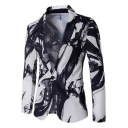 Stylish Ink Painting Long Sleeve Notched Lapel Collar Single Button Wedding Blazer Suit for Men