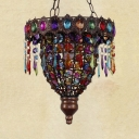 Dinging Room Pendant Light Fixture Metal Vintage Bronze Hanging Light with Colorful Crystal