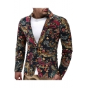 Retro Ethnic Floral Pattern Single Button Long Sleeve Mens Casual Linen Blazer Coat