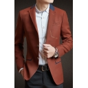 Mens Casual Notched Lapel Collar Long Sleeve Buttons Front Slim Fitted Blazer Coat
