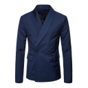 Vintage Plain Shawl Collar Double-Breasted Long Sleeve Mens Blazer Coat