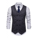 New Stylish Fish Scale Printed Double Breasted Slim Fit Mens Suit Vest