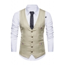 New Trendy Pockets Patched Single Breasted Collarless Dress Suit Vest for Men