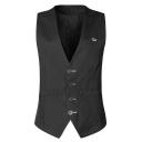Fashion Embroidered Buckle Back Single Breasted Mens Black Dress Suit Vest