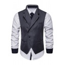 Men's Stylish Plain Button Front Notched Lapel Belt Back Suit Vest