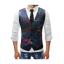 Splash-Ink Galaxy Printed Single Breasted Belt Back Mens Slim Fit Suit Vest