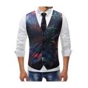 Splash-Ink Galaxy Printed Single Breasted Belt Back Mens Slim Fit Suit Vest
