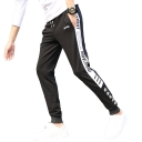 New Stylish Letter Tape Side Drawstring Waist Slim Fit Cotton Sweatpants for Men