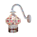 Living Room Lantern Style Wall Sconce Metal Antique White/Bronze Wall Lamp with Colorful Crystal