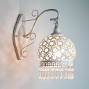 Traditional Domed Shape Sconce Single Light White Hanging Wall Sconce for Living Room