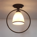 Ring Bedroom Ceiling Light 1 Light Frosted Glass Shade Vintage Semi Flush Mount