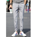Guys New Trendy Solid Color Button Packets Drawstring Waist Leisure Tapered Trousers