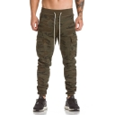 Mens Fashion Camo Printed Drawstring Waist Training Fitness Cargo Pants Pencil Pants