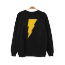 Cartoon Lightning Printed Round Neck Long Sleeve Cotton Sweatshirt