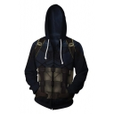 Cosplay Costume Long Sleeve Zip Up Comic Navy Hoodie