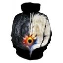 Leisure Unisex Trendy Lion Printed Long Sleeve Black Pullover Hoodie