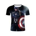 3D Cool Film Figure Printed Round Neck Short Sleeve Loose Casual T-Shirt