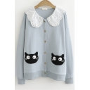 Cartoon Cat Embroidery Lace Insert Doll Collar Button Down Long Sleeve Loose Sweatshirt Jacket