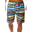 Mens Stylish Ink Rainbow Stripe Printed Fast Drying Guys Drawstring-Waist Holiday Beach Swim Trunks