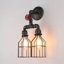 2 Lights Caged Wall Lamp Antique Metal Sconce Wall Light in Silver for Living Room