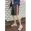 Summer New Trendy Striped Side Drawstring Waist Loose Casual Sport Shorts