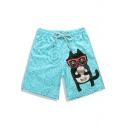 Mens Lovely 3D Glasses Cat Heart Printed Drawstring Waist Fast Drying Blue Shorts Swim Trunks