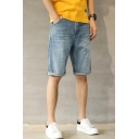 Mens Simple Vintage Washed Relaxed Fit Light Blue Denim Shorts