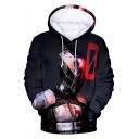 Cool Comic Robot Man 3D Printed Long Sleeve Casual Loose Black Drawstring Hoodie