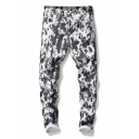 Men's Trendy Cool Leopard Printed Rolled Cuff Stretch Fit Black and White Jeans