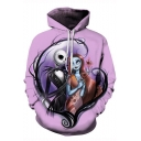 Jack Skellington Comic Figure Printed Pullover Loose Casual Purple Hoodie