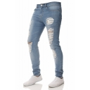 New Fashion Simple Plain Stretch Slim Fit Ripped Jeans for Men