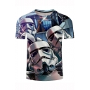 Cartoon Cute Robot Soldier Print Short Sleeve Basic T-Shirt