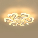 Petal LED Flush Mount Lighting with Clear Crystal Ball Contemporary Light Fixture in White