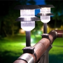 Solar Powered LED Post Light Fixture Pack of 1/2 Waterproof Post Lamp in White for Wood Fence