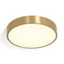 Brass Round Flush Light with Acrylic Shade 1 Light Art Deco Flush Mount Lighting for Living Room
