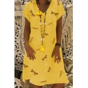 New Trendy Allover Dragonfly Pattern V-Neck Short Sleeve Midi T-Shirt Dress