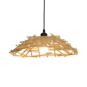 Bamboo Nest Hanging Light in Simple Style 1 Bulb Pendant Ceiling Lights in Beige for Bedroom