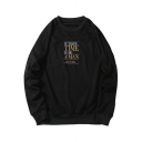 Cool Letter IT TAKES TIME TO BE A MAN STYLE Printed Round Neck Long Sleeve Sweatshirt