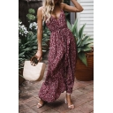 New Stylish Floral Printed Tied Waist Burgundy Maxi Slip Dress