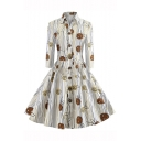 Fashion Striped Floral Print Lapel Single Breasted Three-Quarter Sleeve Bow Tied Back Cotton Midi Shirt Dress