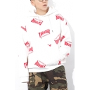 Guys Stylish Allover Letter THRASHBR Printed Long Sleeve Loose Fit Pullover Hoodie